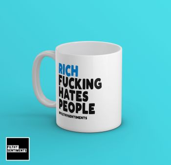 PERSONALISED BLUE NAME HATE PEOPLE MUG - 216