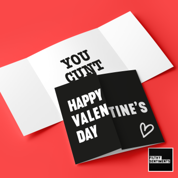 "Hidden message ""Happy Valentines Day, you Cunt"" card - FS705"
