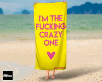 I'M THE CRAZY ONE YELLOW TOWEL/ K036