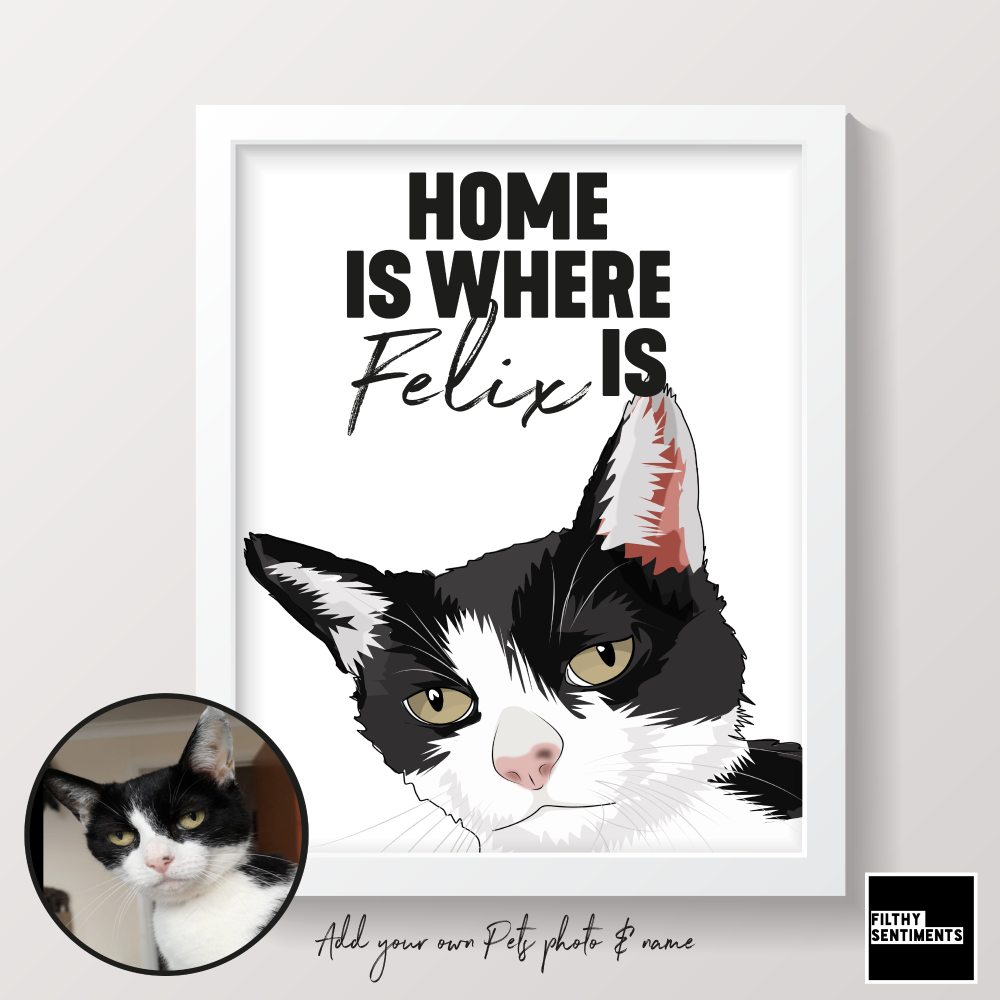 PERSONALISED HOME IS WHERE PET PRINT (CAT OR ANY PET) - PET002