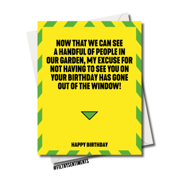 NO EXCUSE TO SEE YOU CORONAVIRUS BIRTHDAY CARD - FS1171