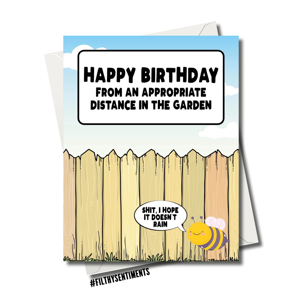 HAPPY BIRTHDAY FROM THE GARDEN SOCIAL DISTANCING CARD
