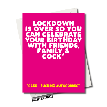 LOCKDOWN COCK BIRTHDAY CARD - FS1204