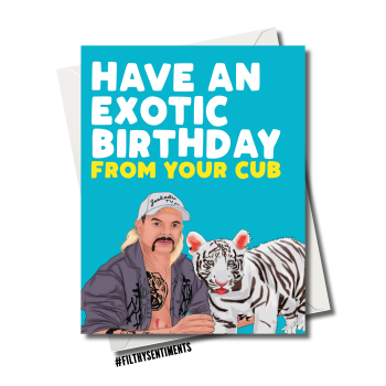TIGERKING JOE EXOTIC BIRTHDAY CUB CARD FS1245