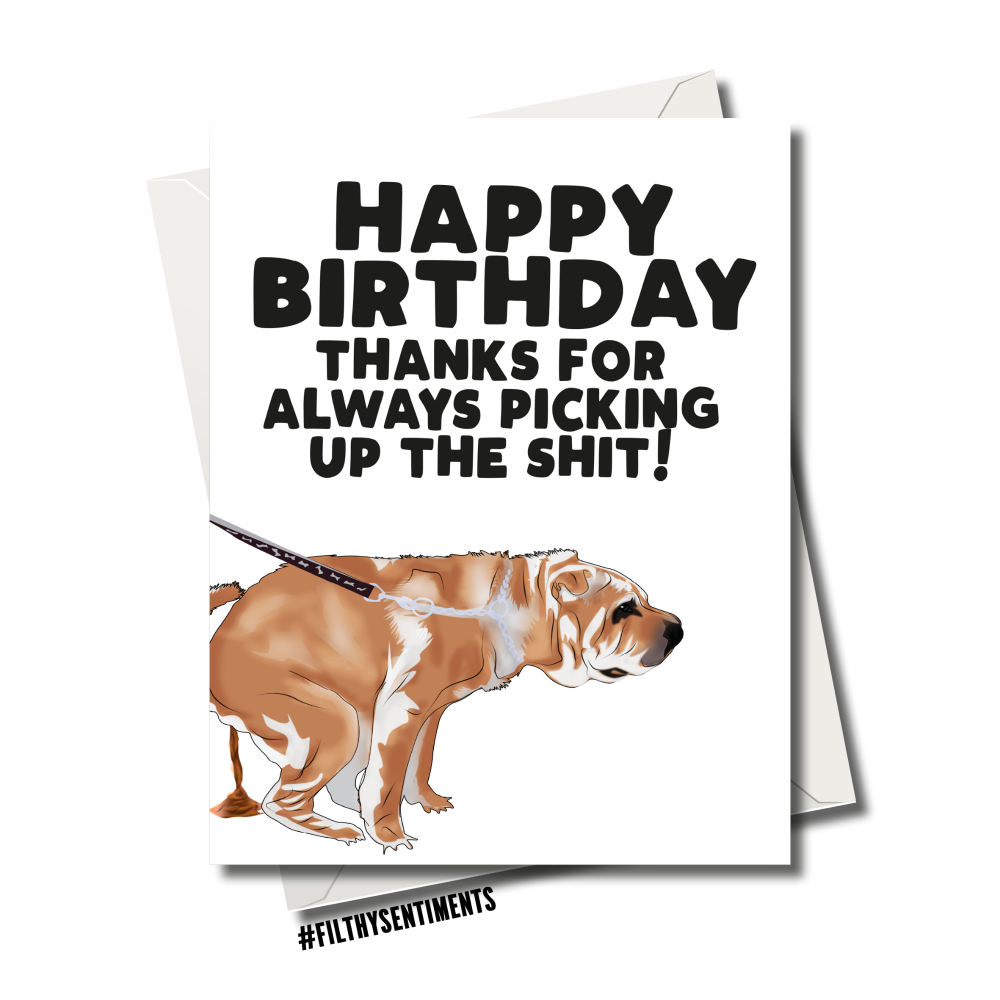 SHITTING DOG CARD 128