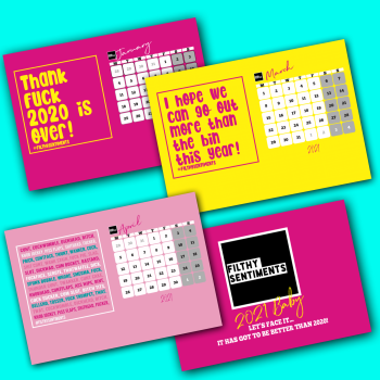 BRIGHT & FUNKY FILTHY SENTIMENTS 2021 DESKTOP CALENDAR