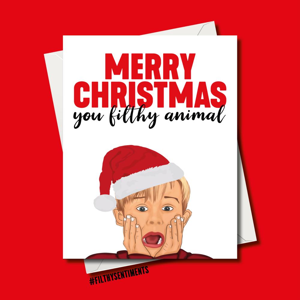 FILTHY ANIMAL CARTOON CHRISTMAS CARD