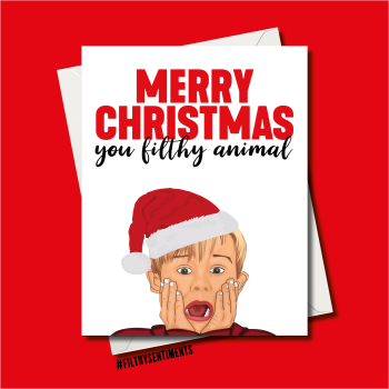 FILTHY ANIMAL CARTOON CHRISTMAS CARD - fs1251