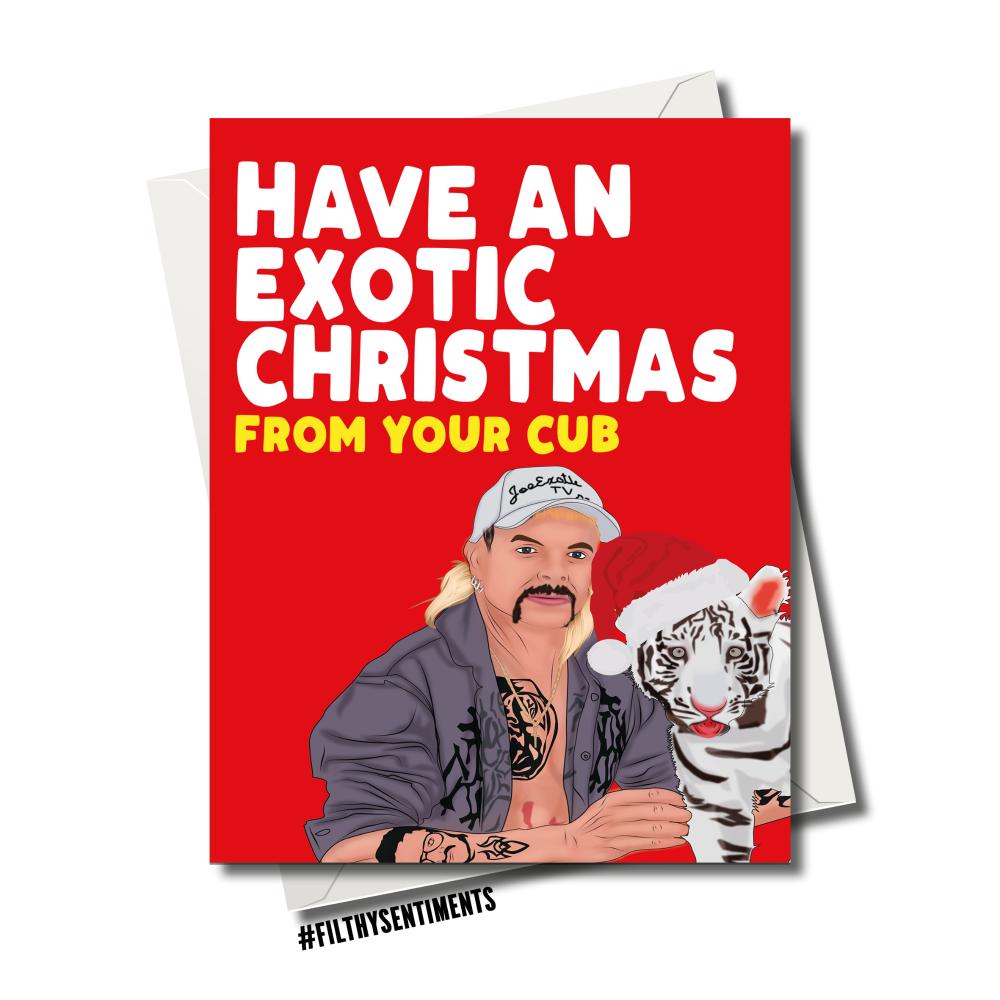 TIGERKING EXOTIC CUB CHRISTMAS CARD