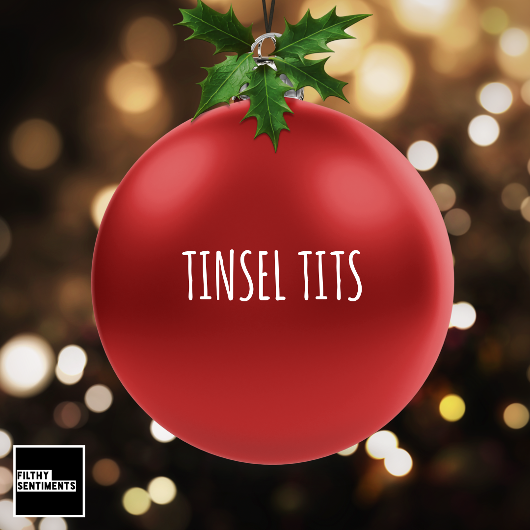 Christmas Bauble Decoration - Red Tinsel Tits