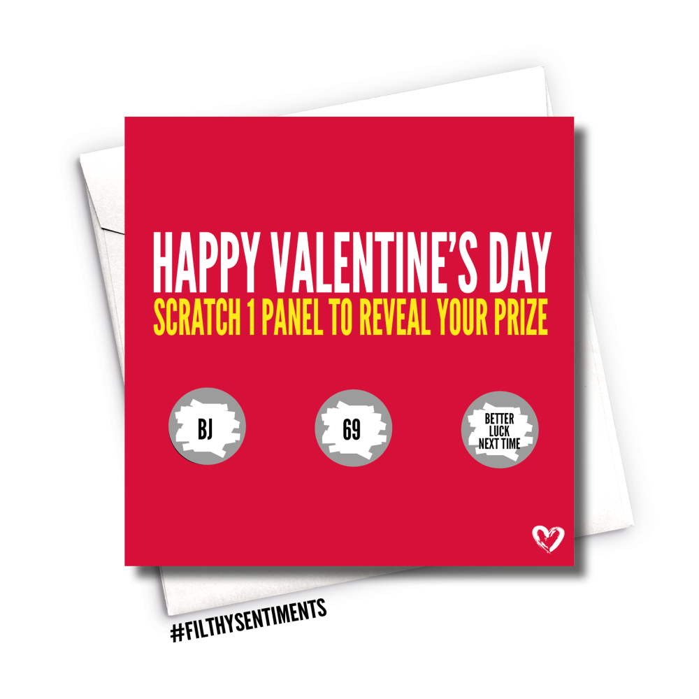 RED ROULETTE VALENTINES SCRATCH CARD