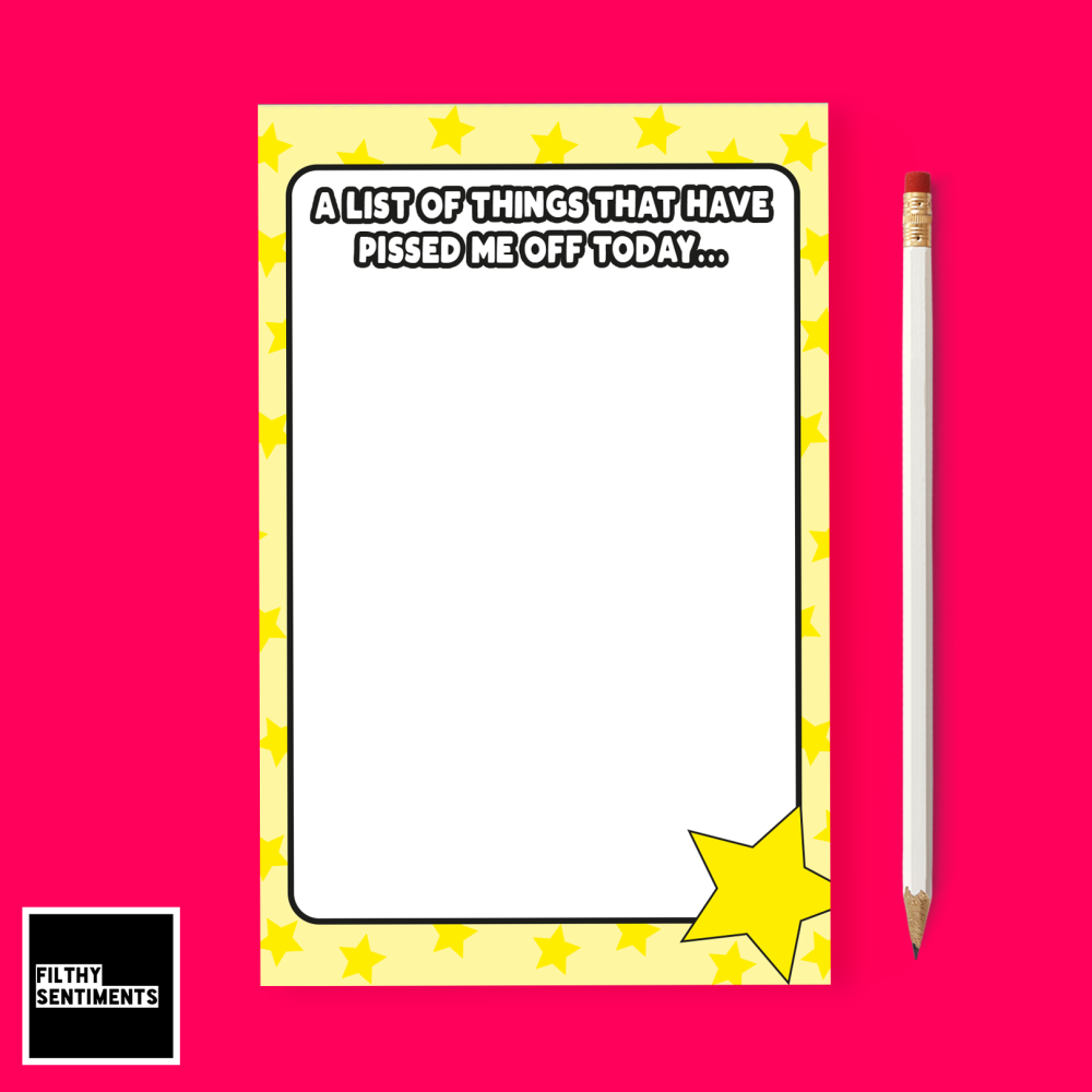 YELLOW PISSED OFF TEAR OFF NOTEPAD A6
