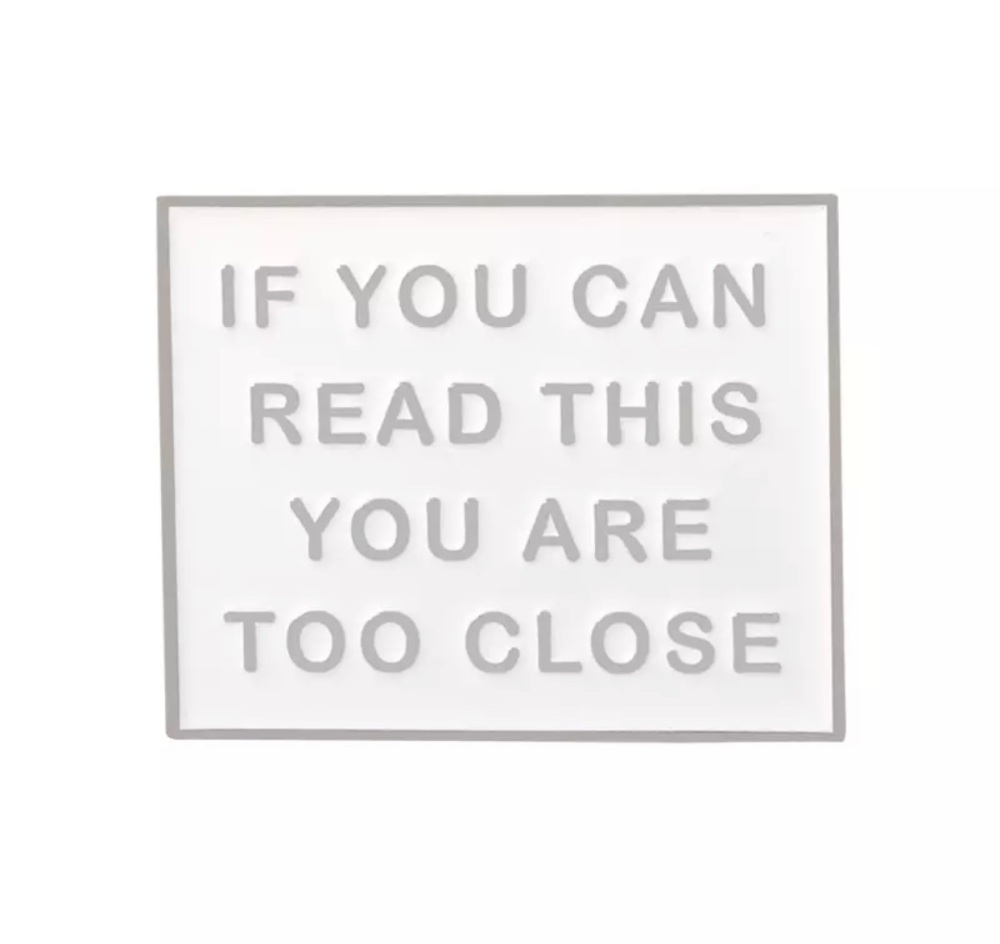 WHITE IF YOU CAN READ THIS ENAMEL PIN  BADGE