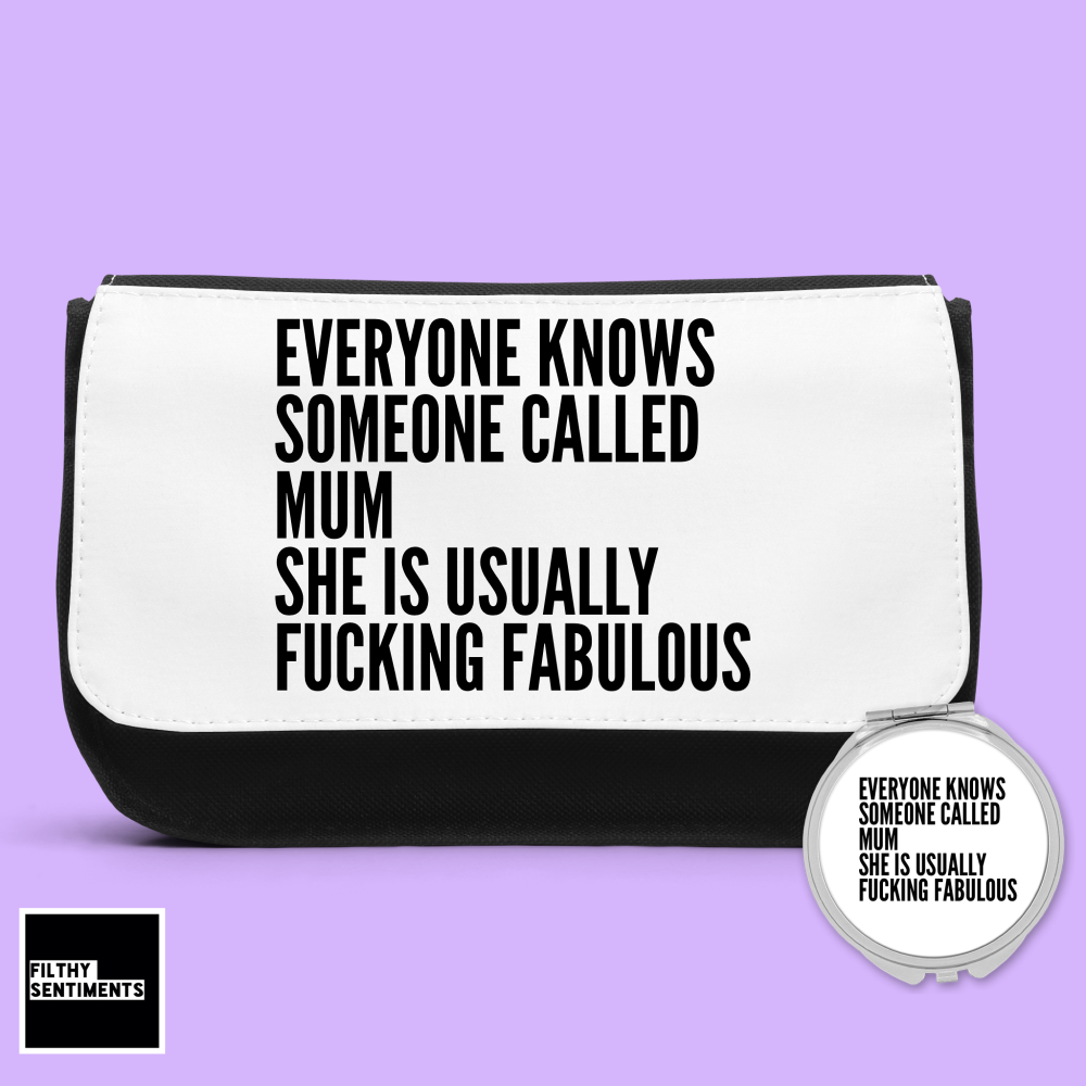 MUM EVERYONE KNOWS PERSONALISED MAKE UP BAG & MIRROR SET MB002