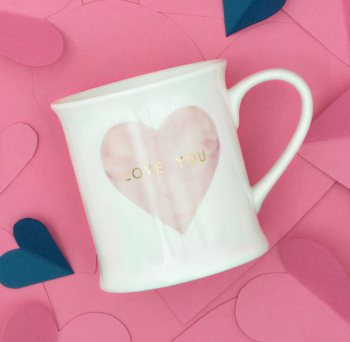 PINK HEART WITH GOLD LOVE YOU MUG