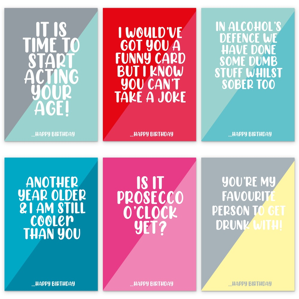 ALCOHOL PACK OF 6 BIRTHDAY CARDS