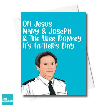 DAD JESUS MARY JOSEPH DONKEY CARD - XFS0702