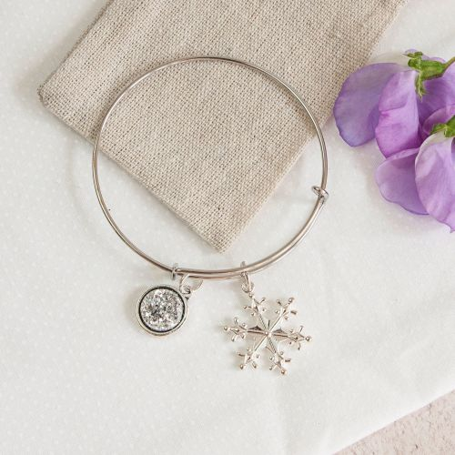 Let it Snow Bangle in linen pouch