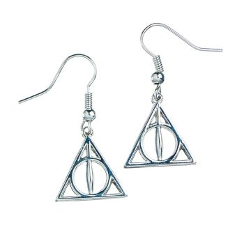 Harry Potter Deathly Hallows Earrings - Silver Plate