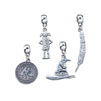 Harry Potter Dobby the House-Elf/ Sorting Hat/ Ministry of Magic/ Feather Quill Slider Charm Set  - Silver Plate
