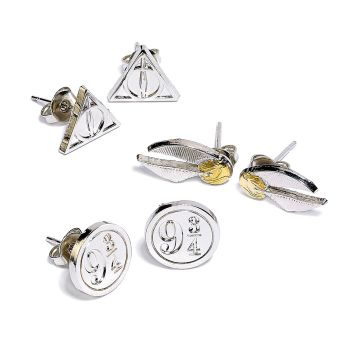 Harry Potter Stud Earring Set Snitch/ Deathly Hallows/ Platform 9 3/4 - Silver Plate