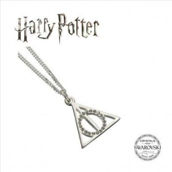 Harry Potter Embellished with Swarovski® Crystals Deathly Hallows Necklace - Sterling Silver