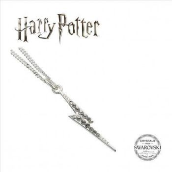 Harry Potter Embellished with Swarovski® Crystals Lightening Bolt Necklace - Sterling Silver
