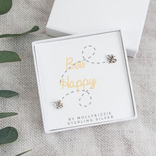 Bee Happy Sterling Silver Earrings