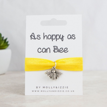 As Happy As Can Bee Stretch Bracelet - adult size