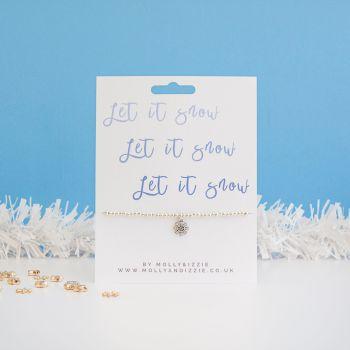 Let It Snow Beaded Bracelet - Adult Size