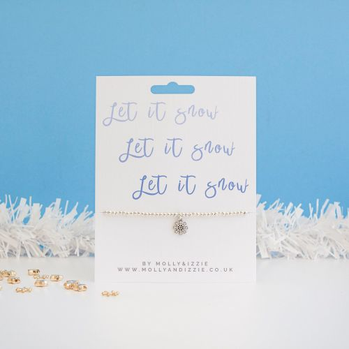 Let It Snow Beaded Bracelet - Adult Size