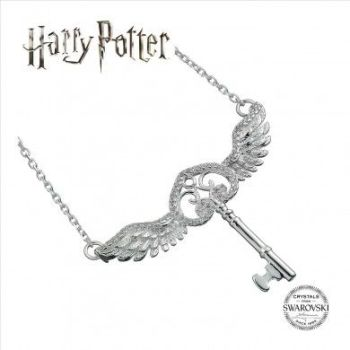 Harry Potter Embellished with Swarovski® Crystals Flying Key Necklace - Sterling Silver