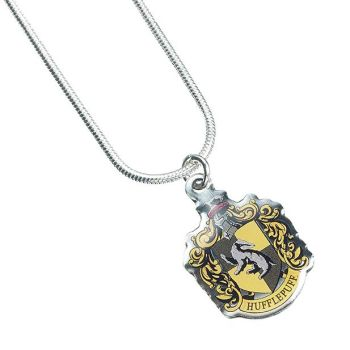 Harry Potter Hufflepuff Crest Necklace - Silver Plate