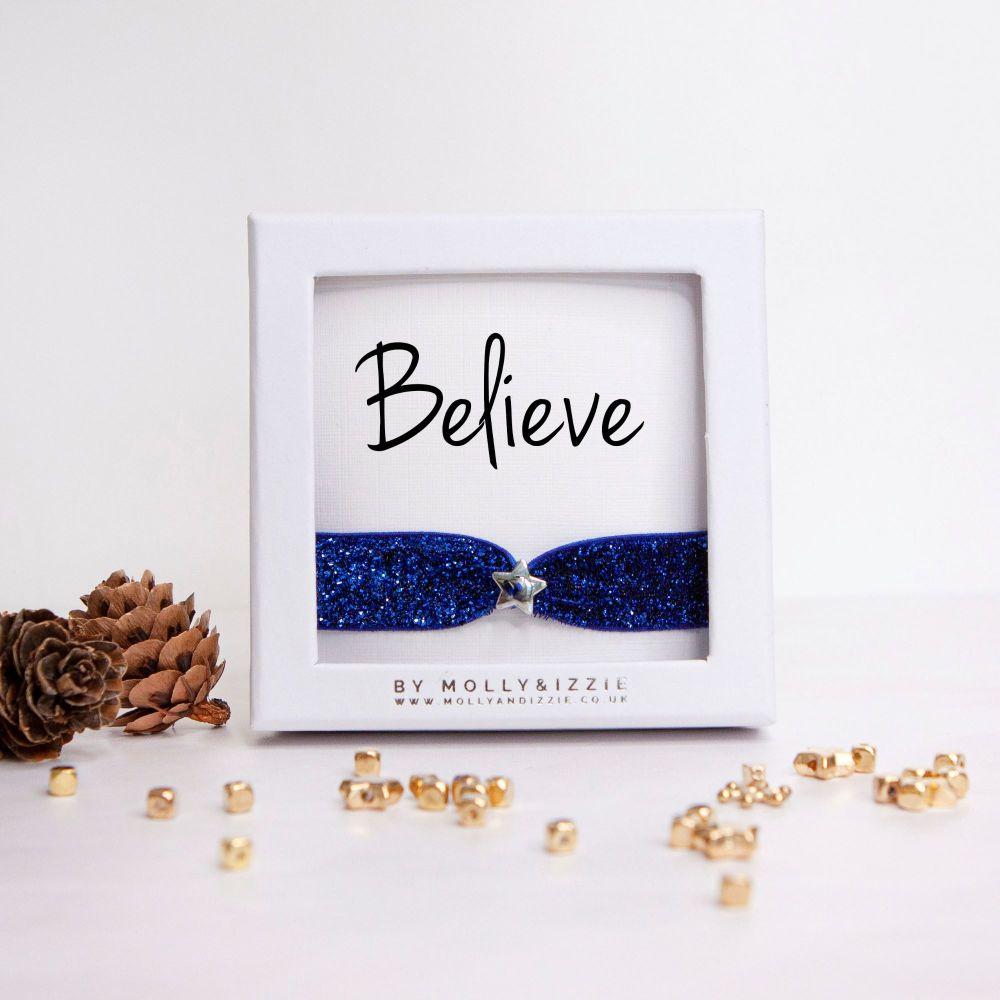 Believe Glitter Stretch Bracelet - adult size