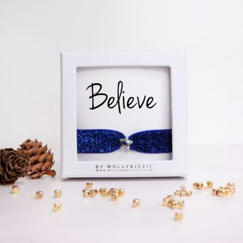Believe Glitter Stretch Bracelet - adult size