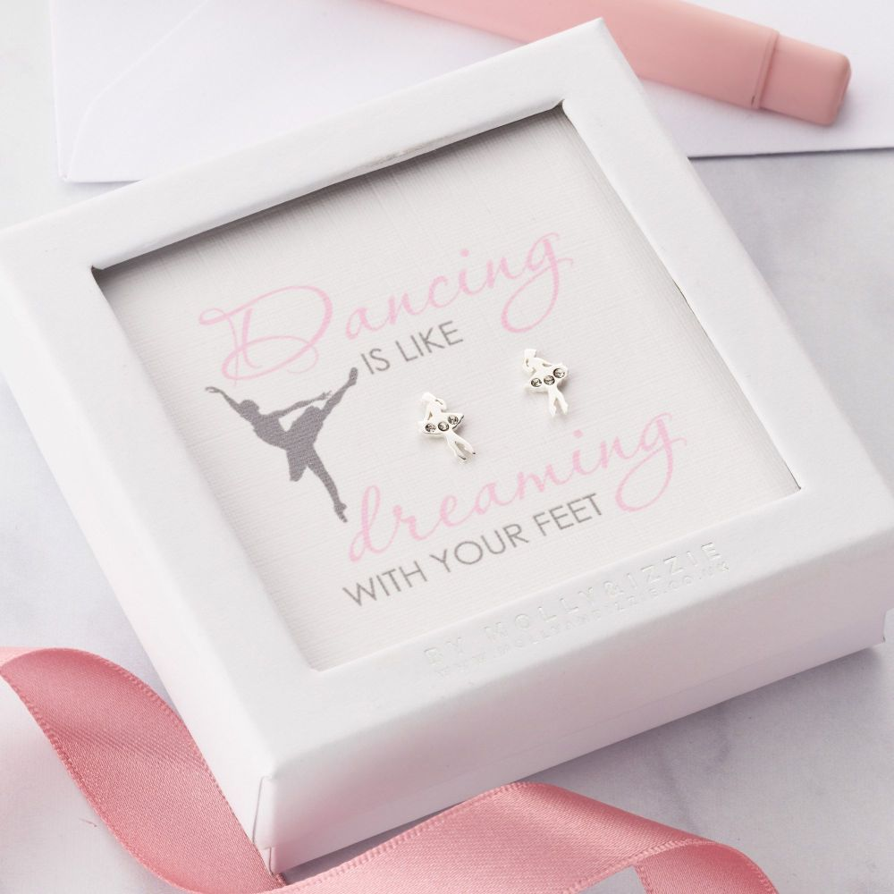 Dancing Is Like Dreaming With Your Feet Sterling Silver Earrings