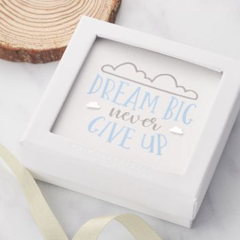 Dream Big Never Give Up Sterling Silver Earrings