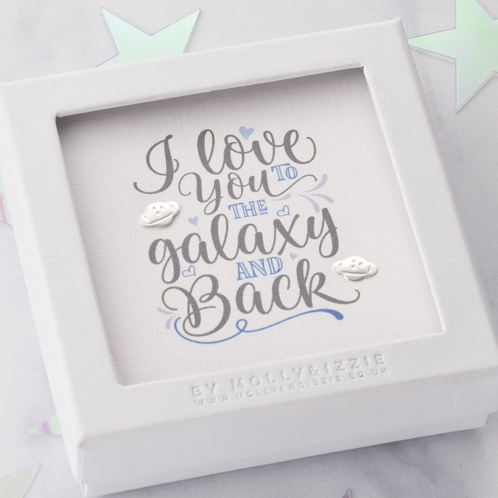 I Love You To The Galaxy And Back Sterling Silver Earrings