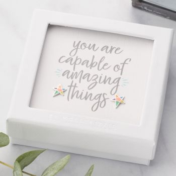 You Are Capable Of Amazing Things Sterling Silver Earrings