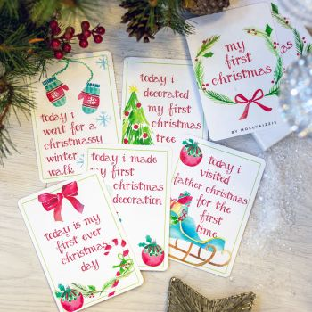 Wipeable Baby's First Christmas Achievement Cards
