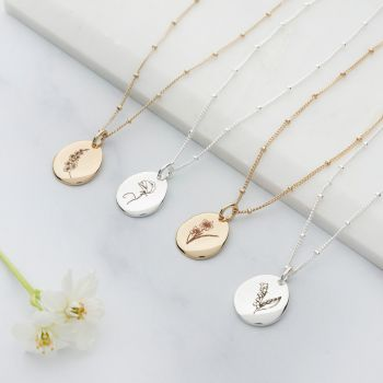 Personalised Birth Flower Necklace (PN076)