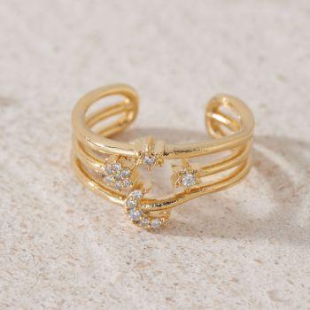 Triple Moon & Stars Adjustable Ring (R008)