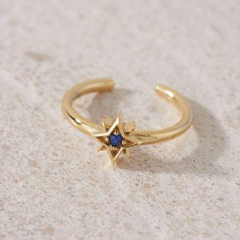 Blue Cubic Zirconia Star Adjustable Ring (R001)