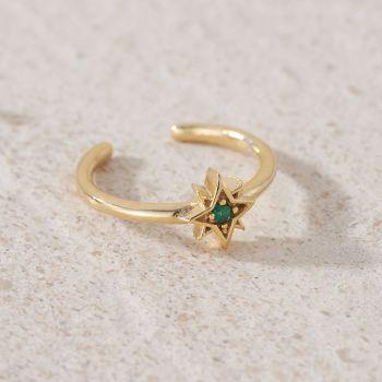 Green Cubic Zirconia Star Adjustable Ring (R004)