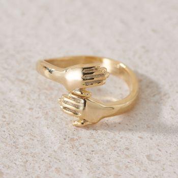 Hugging Hands Gold Plated Adjustable Ring (R005)