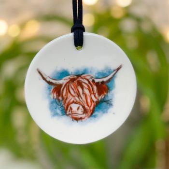 Highland Cow Ceramic Hanging Disc