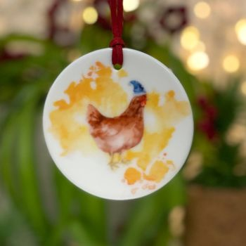 Festive Chicken Ceramic Hanging Disc