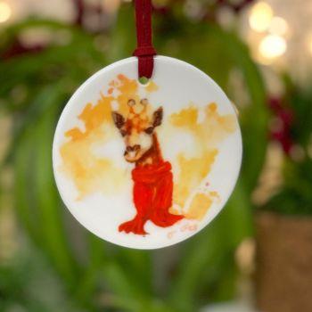 Festive Giraffe Cow Ceramic Hanging Disc
