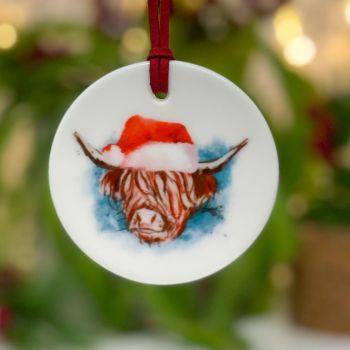 Festive Highland Cow Ceramic Hanging Disc