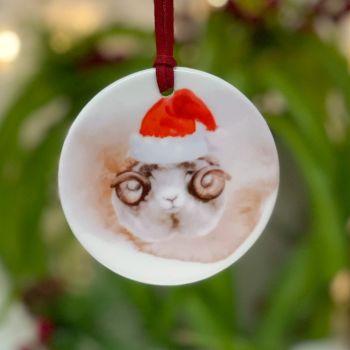 Festive Sheep Ceramic Hanging Disc